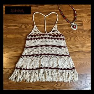 NEW Crochet T-Back Boho Chic Top With Fringed Hem